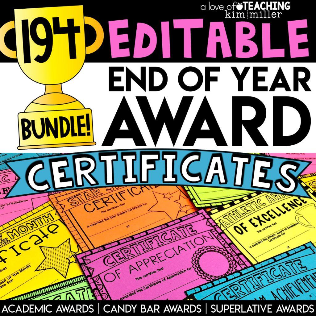 Editable End-of-Year Award Certificates Bundle