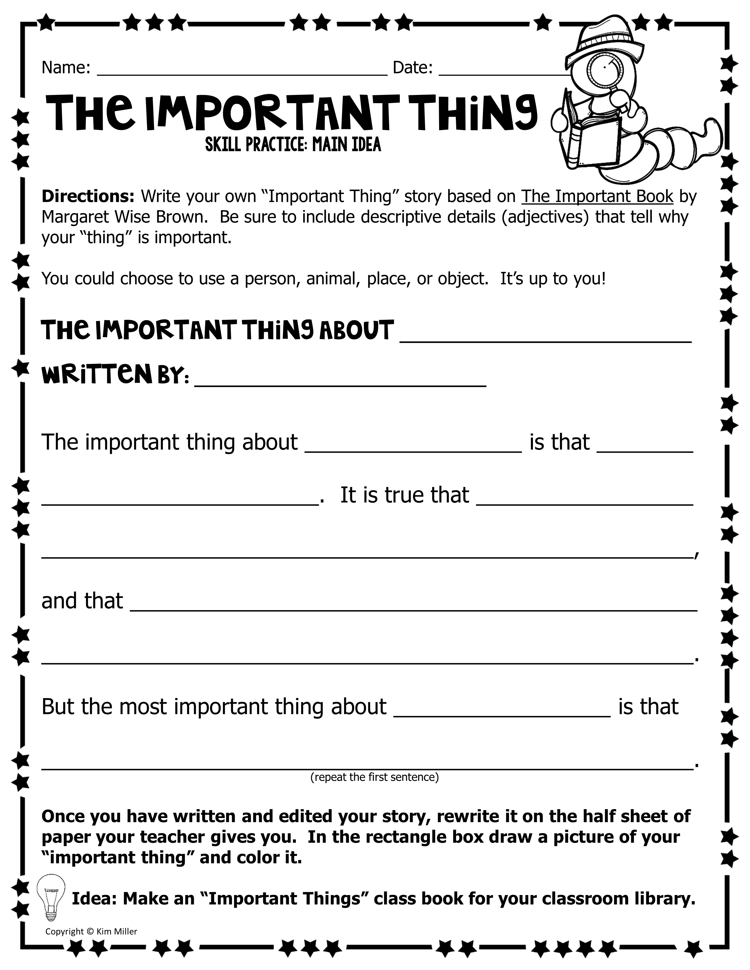 The Important Thing - Main Idea