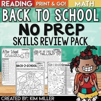 back to school no prep skills review pack