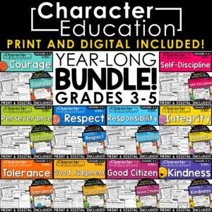 Character Education Traits | Printable and Digital Activities | Year Long Bundle