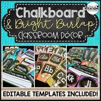 burlap and chalkboard decor