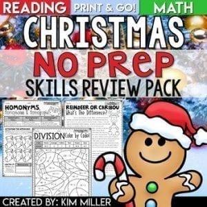 Christmas NO PREP Skills review Pack