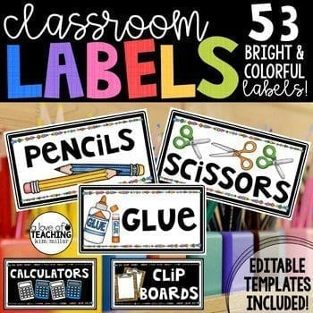 classroom labels for organization
