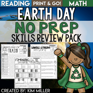 Earth Day Reading and Math Worksheets