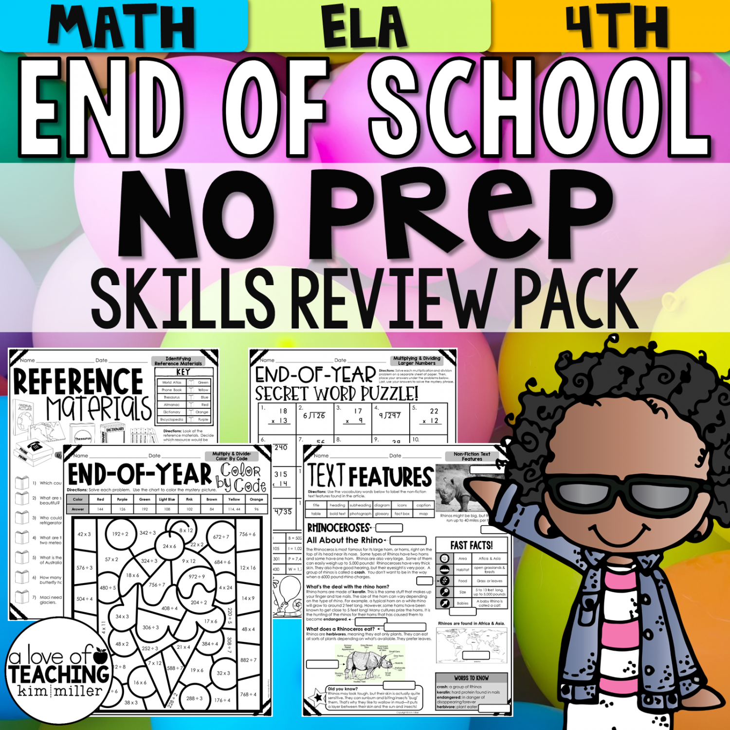 End of Year Reading and Math Review No Prep Packet