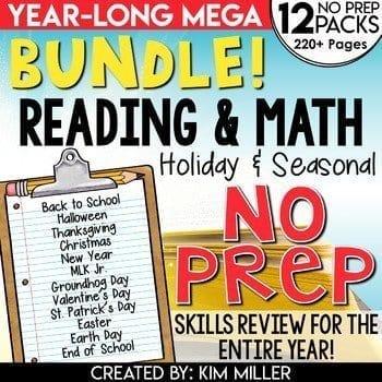 no prep math and reading worksheets
