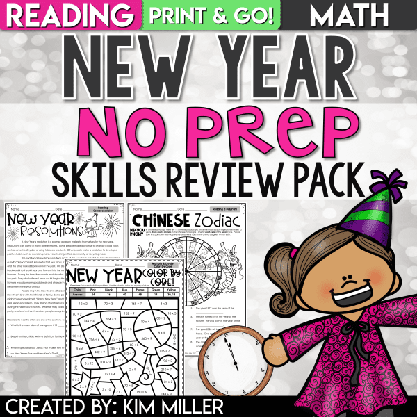 New Year Reading and Math Activities