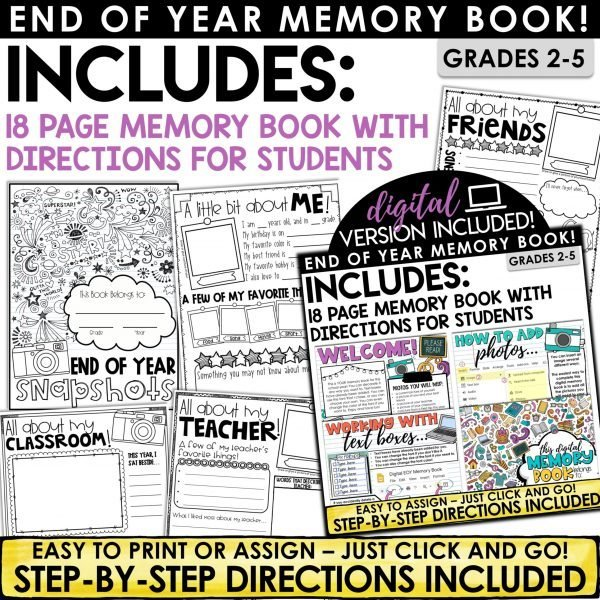 End of Year Memory Book Print and Digital
