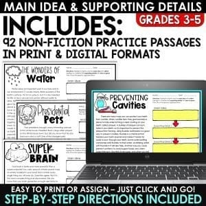 Main Idea & Supporting Details with Graphic Organizers Print and Digital   BUNDLE