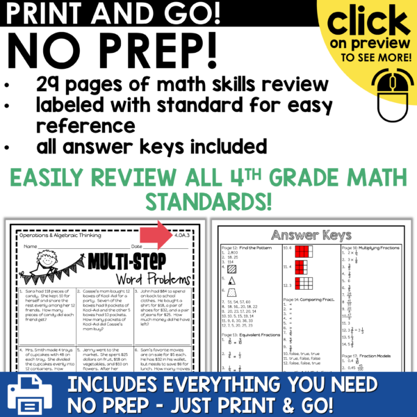 4th Grade Math Summer Review