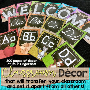 Chalkboard & Bright Burlap Classroom Decor