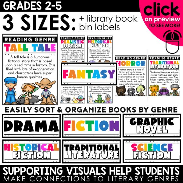 Genre Posters and Book Bin Labels