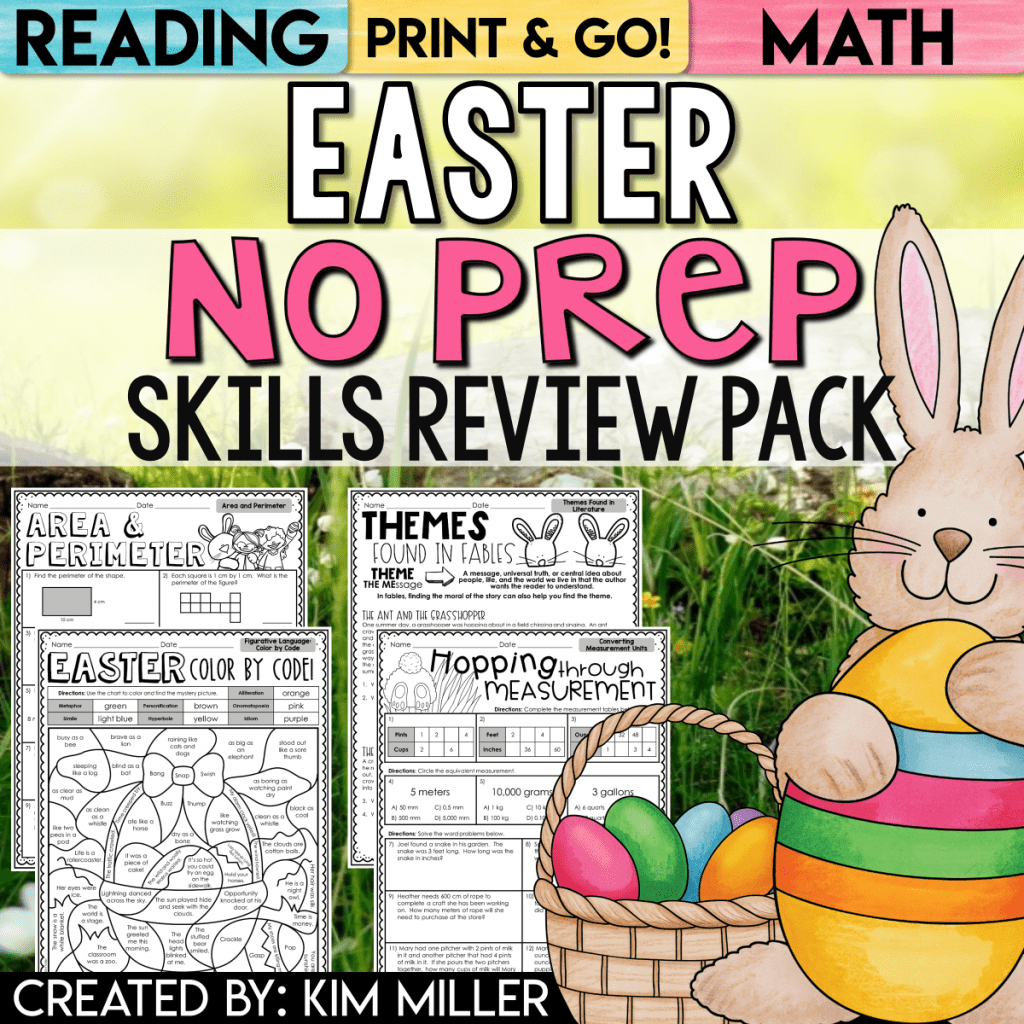 Easter NO PREP Packet for Grades 4-5