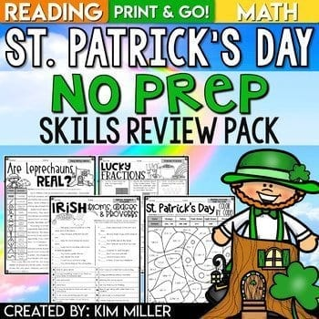 St. Patrick's Day No Prep Skills Review PAck