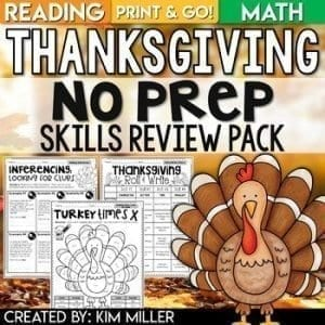 Thanksgiving No Prep Skills Review PAck