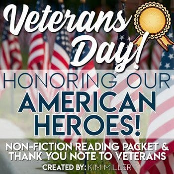 Veterans Day social studies reading and writing with nonfiction