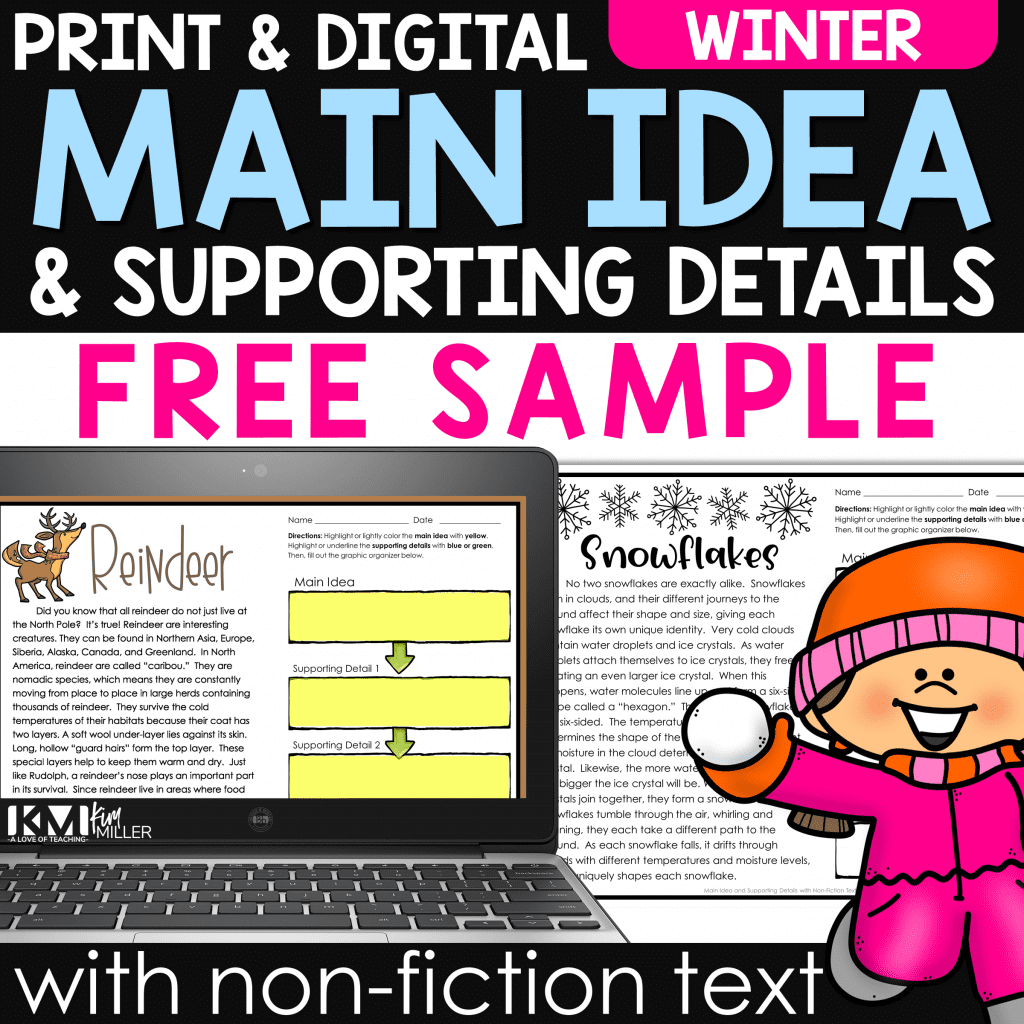Main Idea and Supporting Details Winter Free Sample