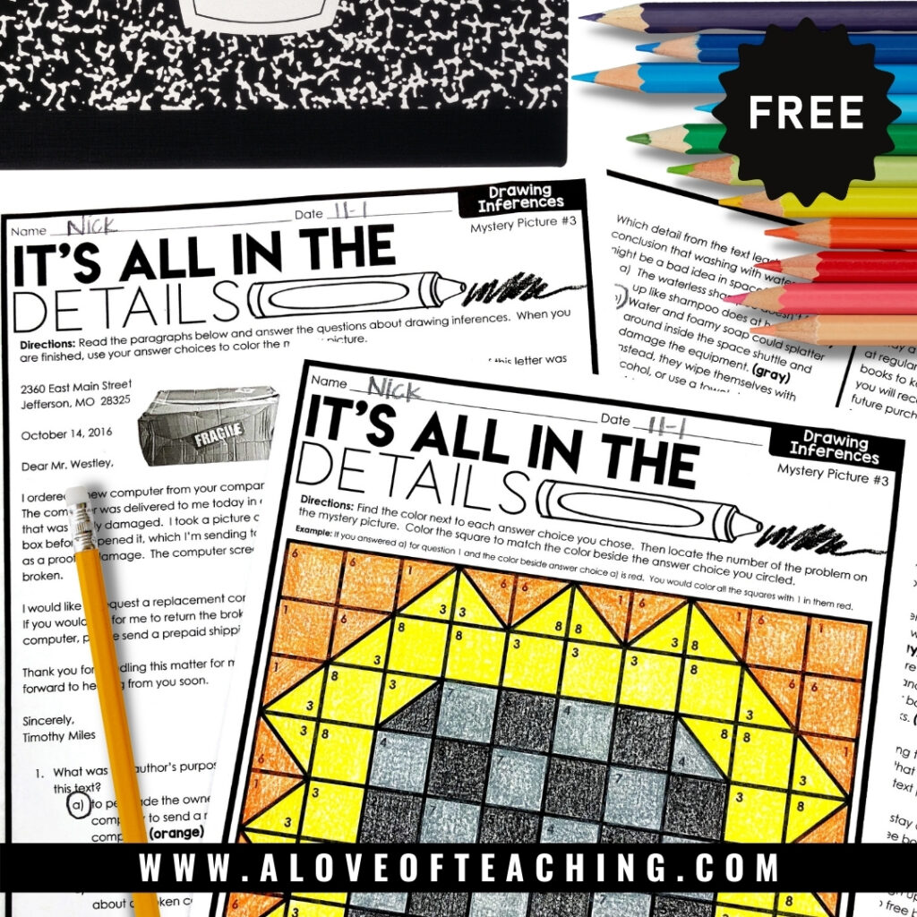 color by code free reading comprehension worksheets