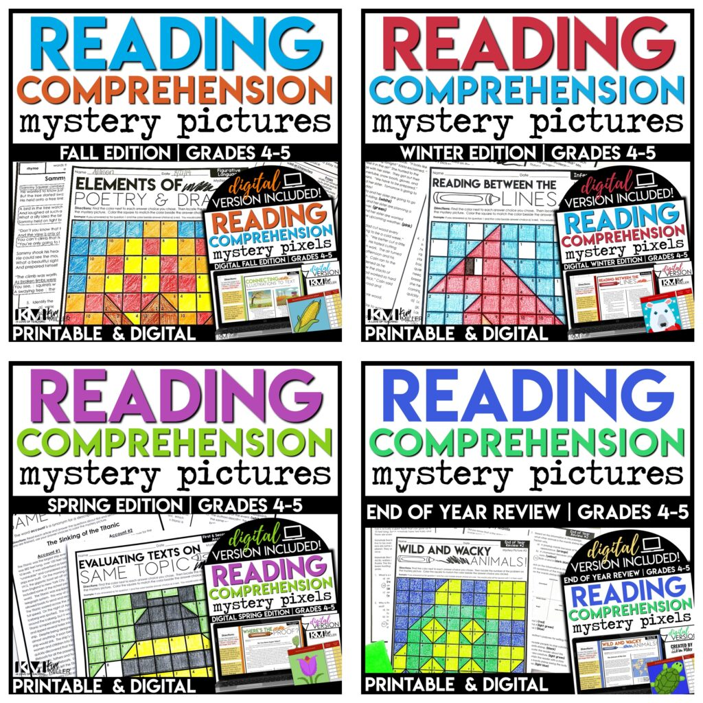 Reading Comprehension Color By Code Activities