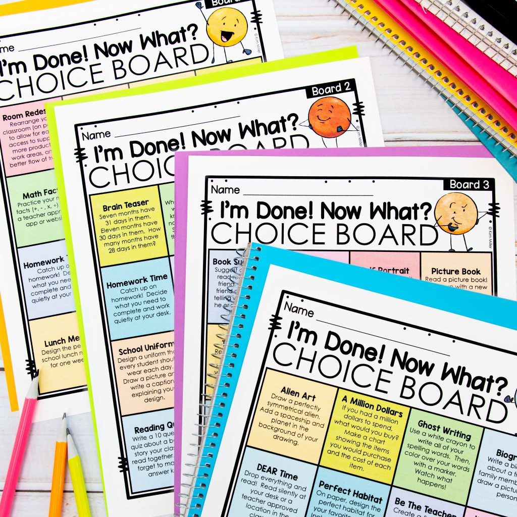 Free Choice Boards for Early Finishers