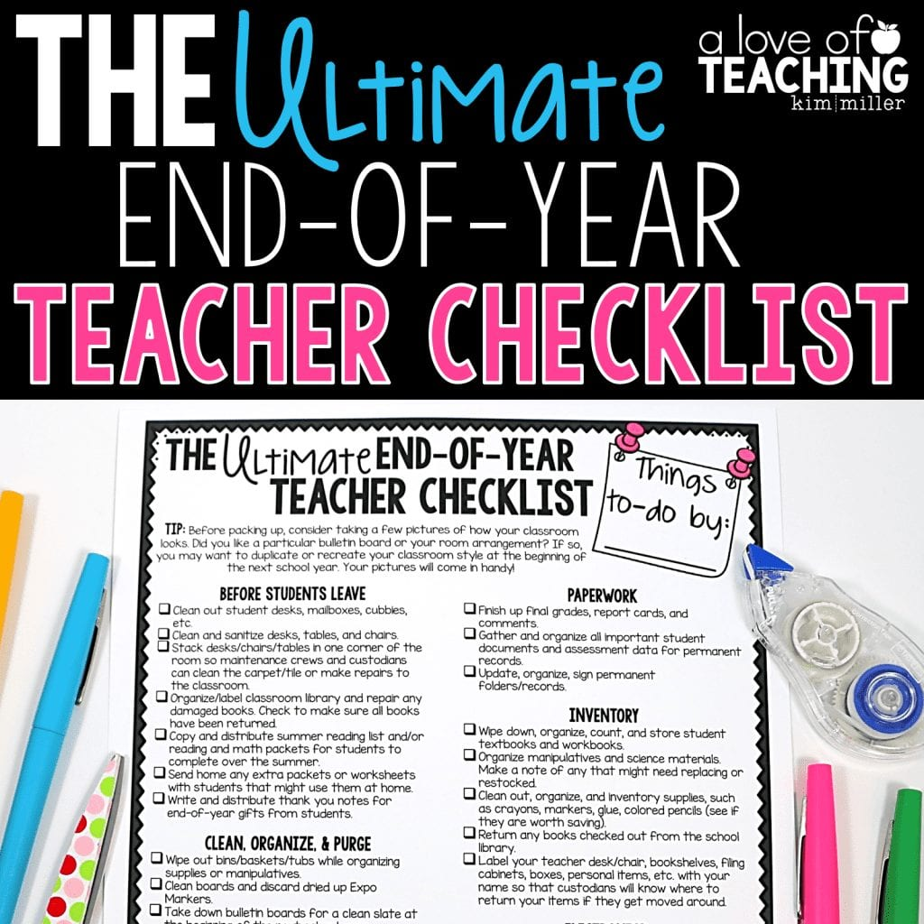 End of the Year Teacher Checklist