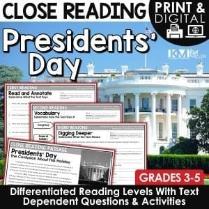 Presidents Day Close Reading