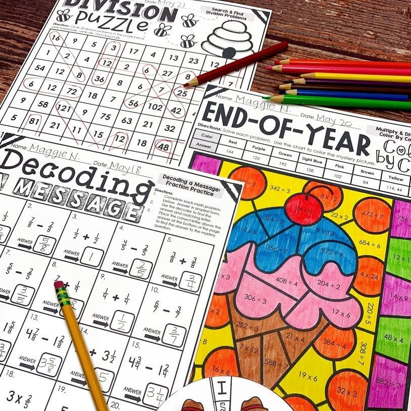end of the year and summer review activities