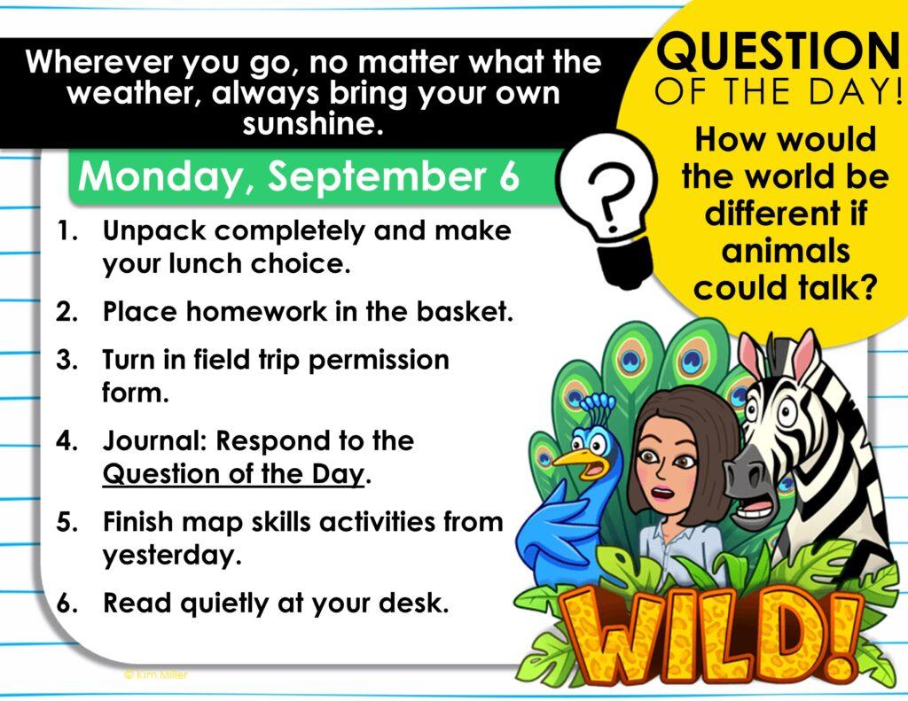 September Classroom Morning Message Slides