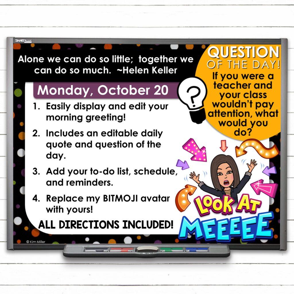 Editable October Classroom Morning Meeting Slides
