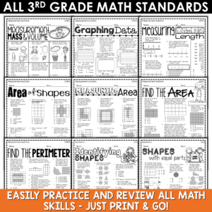 Math Review Printable Packet for Summer or Back to School | 3rd, 4th, 5th Grade BUNDLE