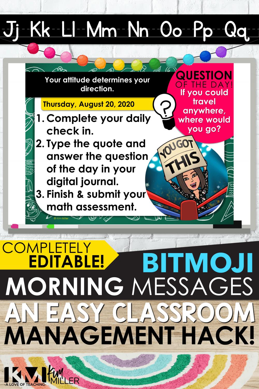 BITMOJI Morning Messages An Easy Classroom Management Hack