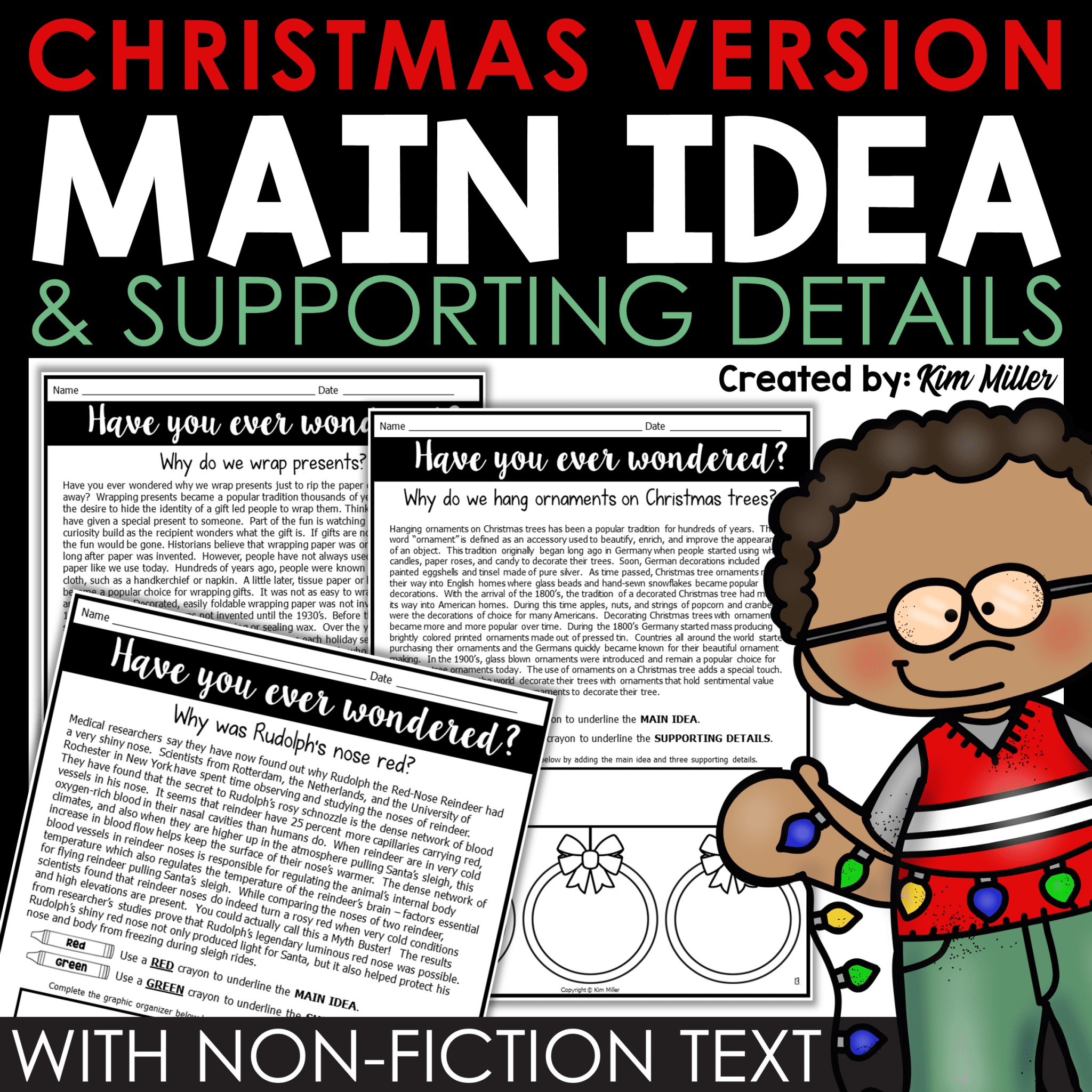 Main Idea and Supporting Details Christmas Version by Kim Miller