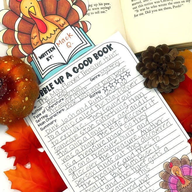 Thanksgiving themed book review activity