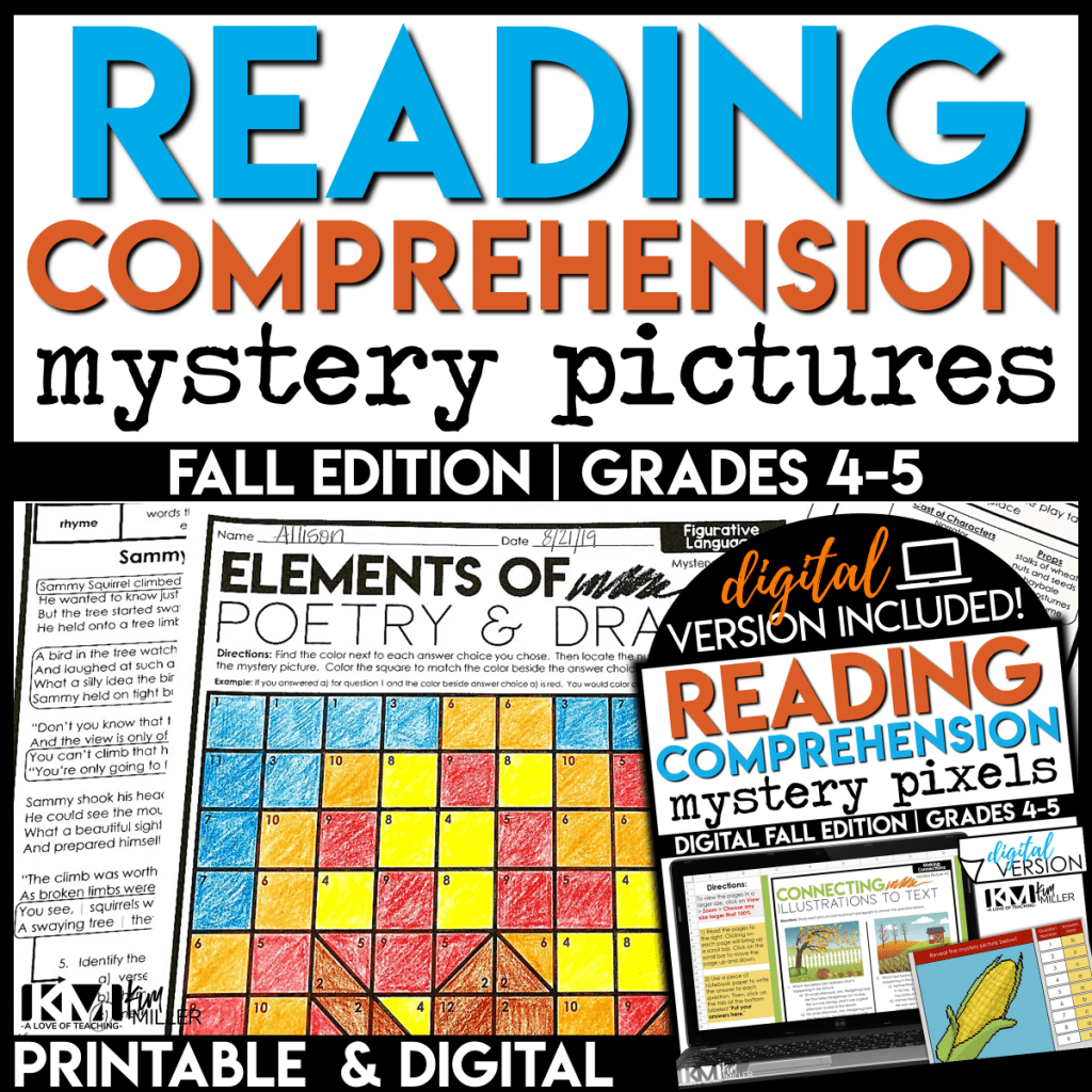fall reading comprehension mystery pictures for 4th and 5th grade