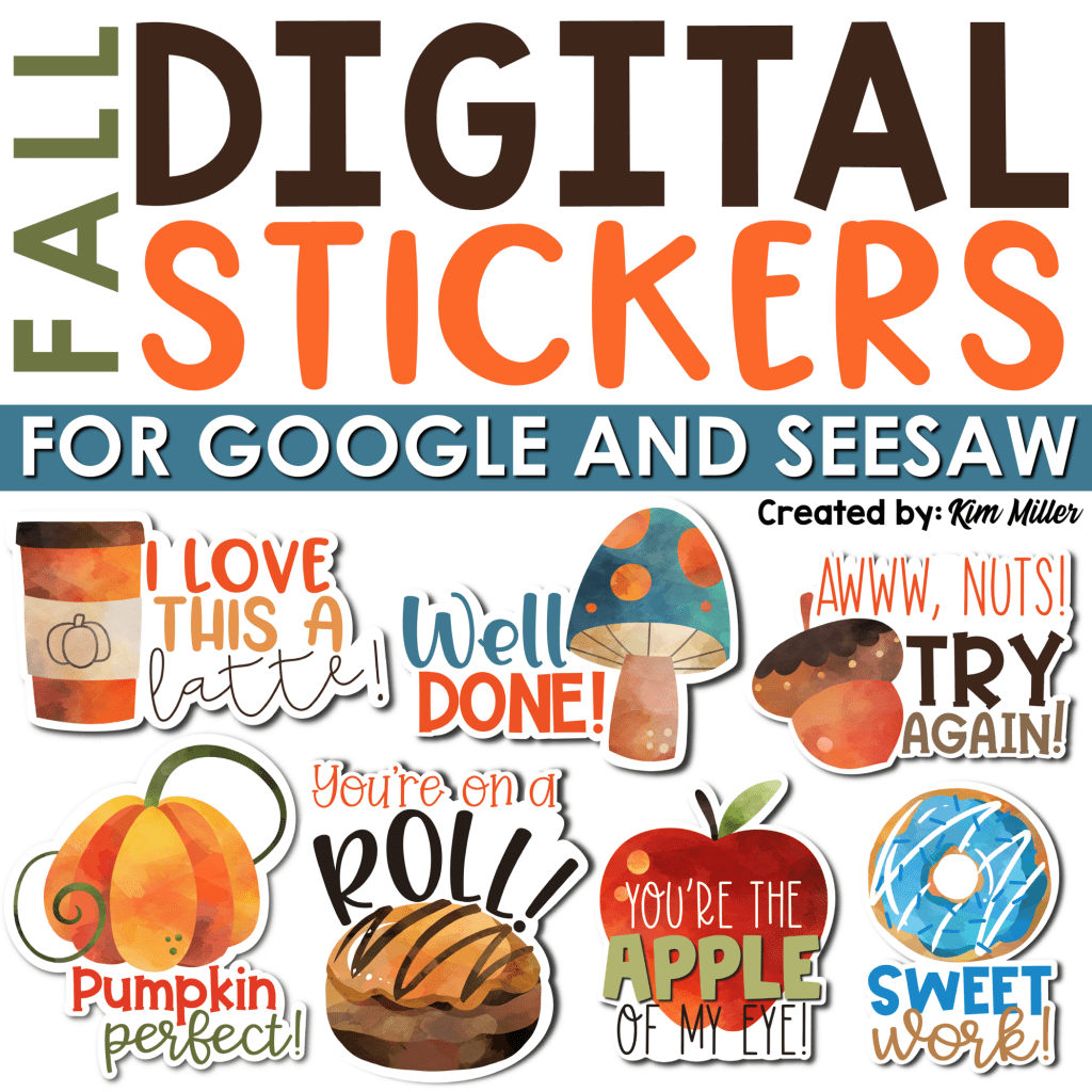 fall digital stickers are a great seasonal incentive for digital grading, notes to students and classroom management