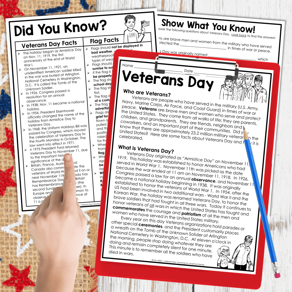 Veteran's Day reading comprehension and social studies activity.