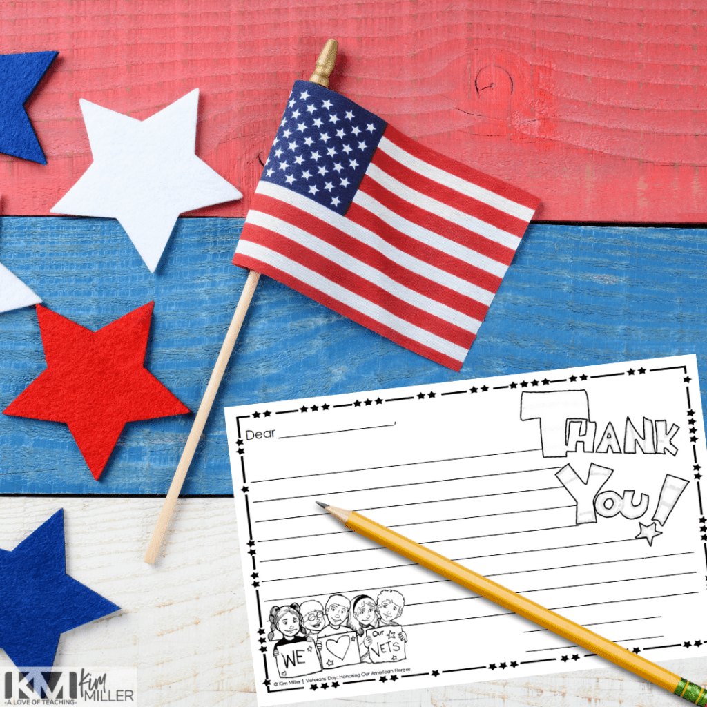 Veterans Day reading and writing activity for upper elementary classrooms