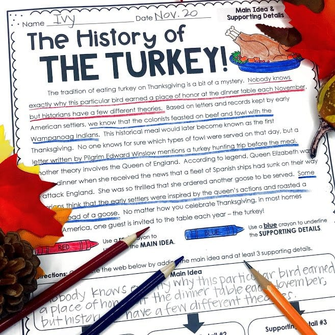 Thanksgiving Main Idea and SUpporting Details activity