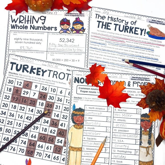 No Prep Math and Literacy activities for November