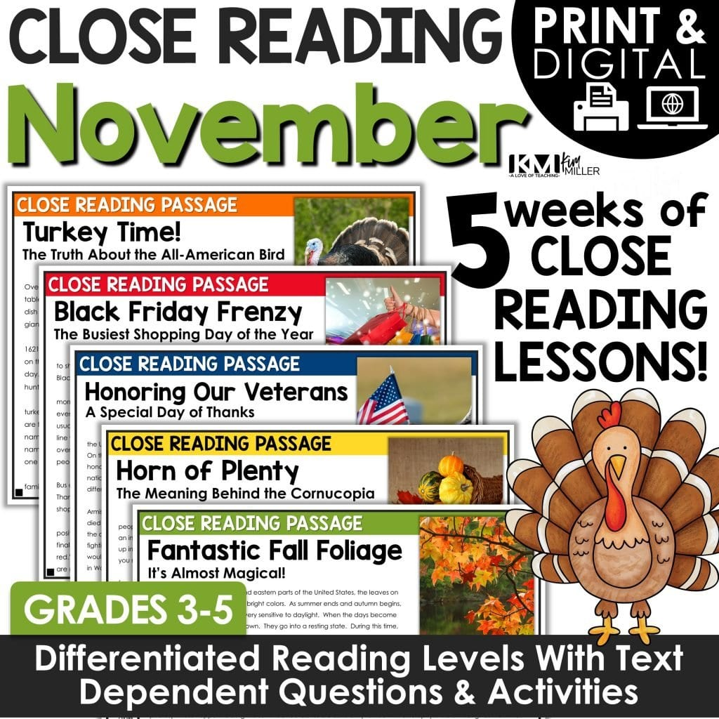 November Close Reading Comprehension