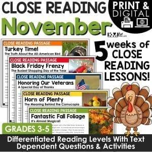 Close Reading Comprehension Passages Thanksgiving Activities November Bundle