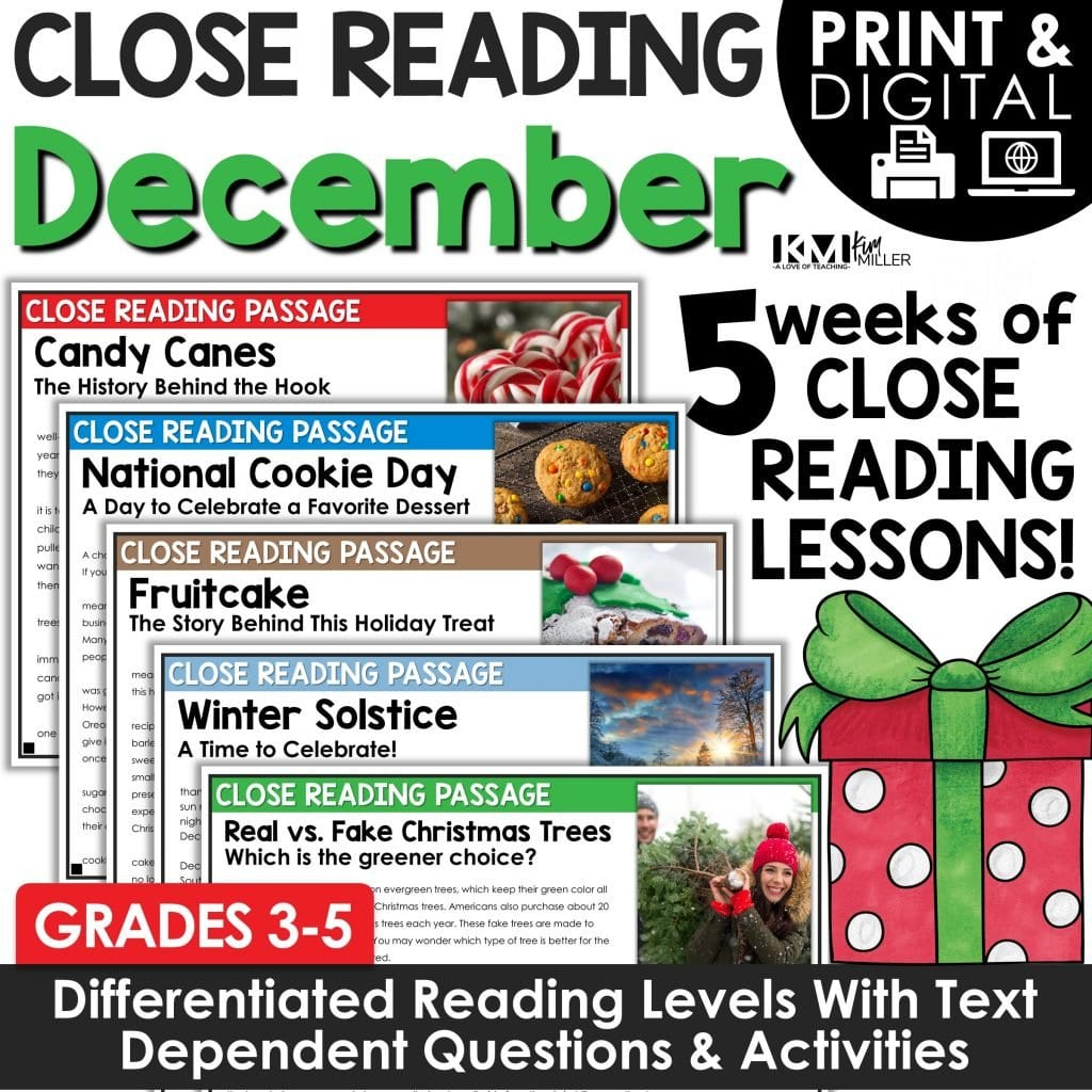 Close Reading Comprehension Passages   Christmas Activities   December Bundle