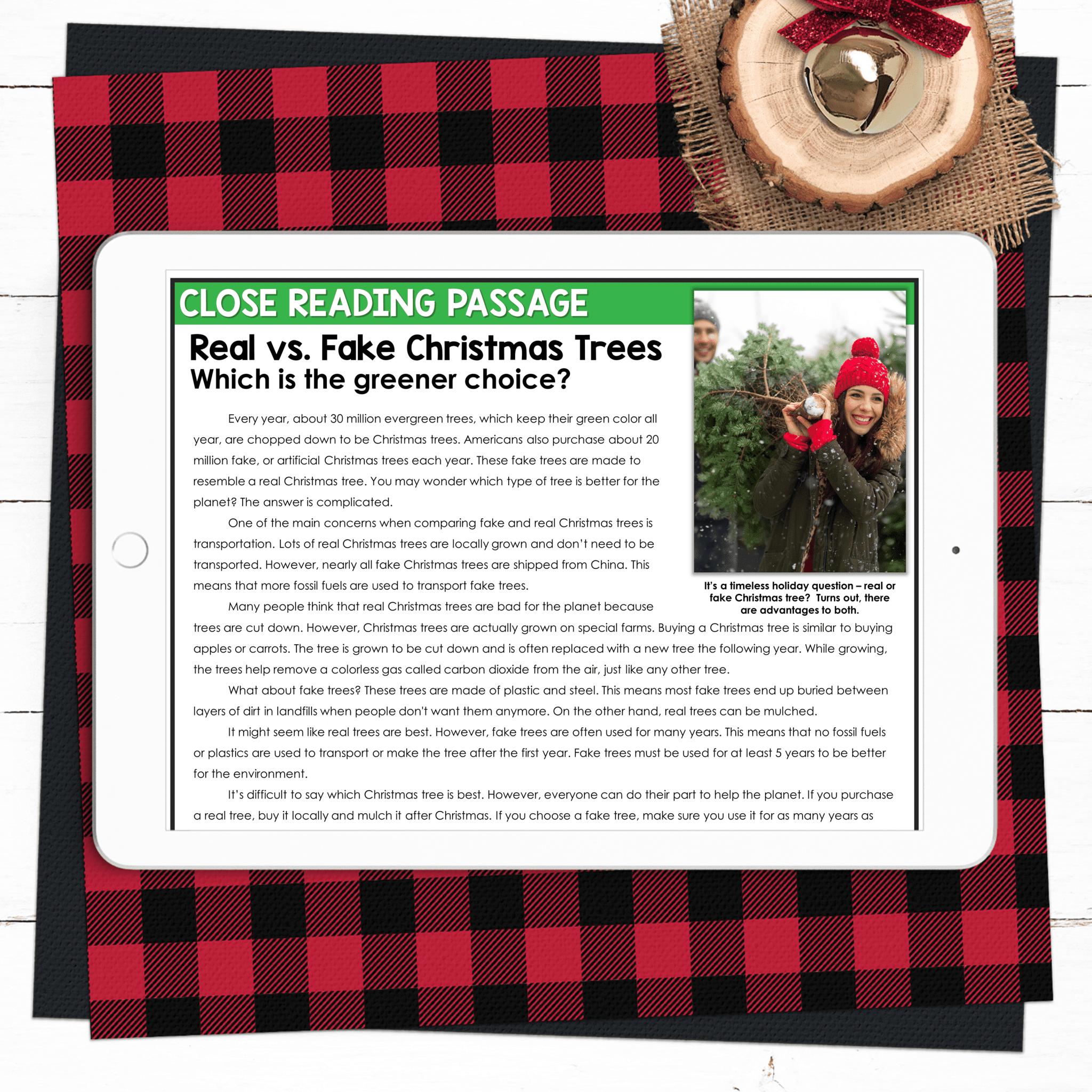 December Close Reading Real vs Fake Christmas Trees
