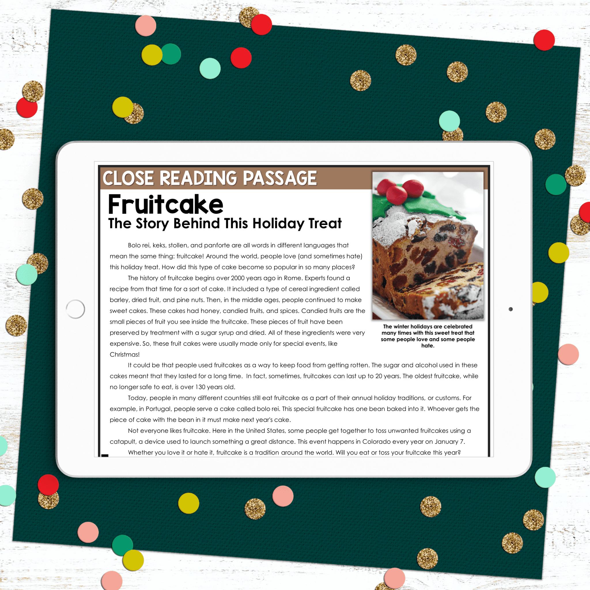 December Close Reading Fruitcake
