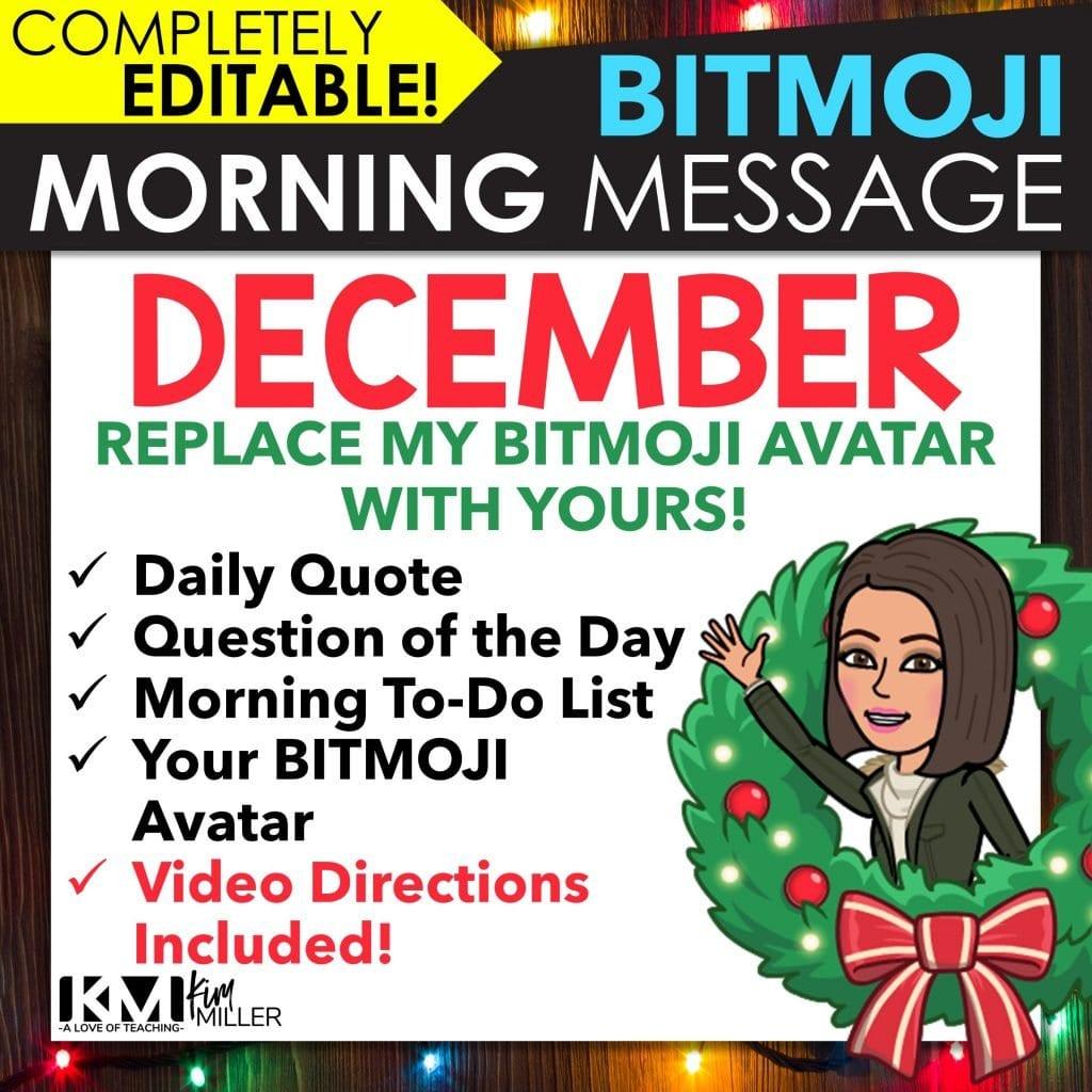 December Bitmoji Morning Message