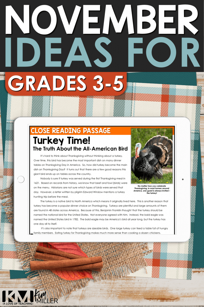 November Activities for the Upper Elementary Classroom