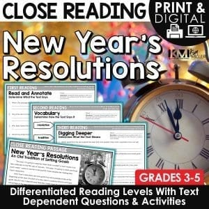 New Year's Resolutions Close Reading