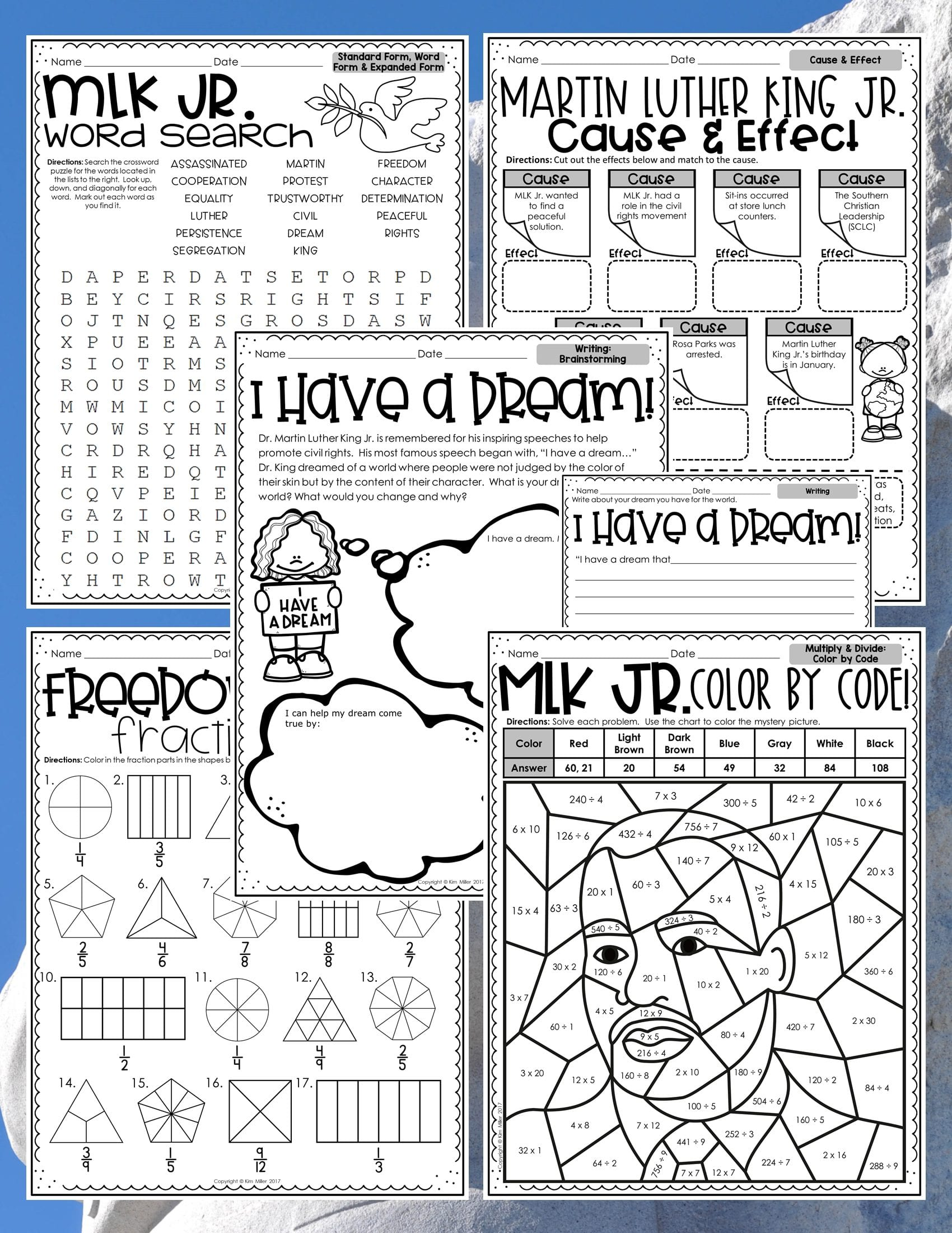 Martin Luther King Jr Reading and Math Activities