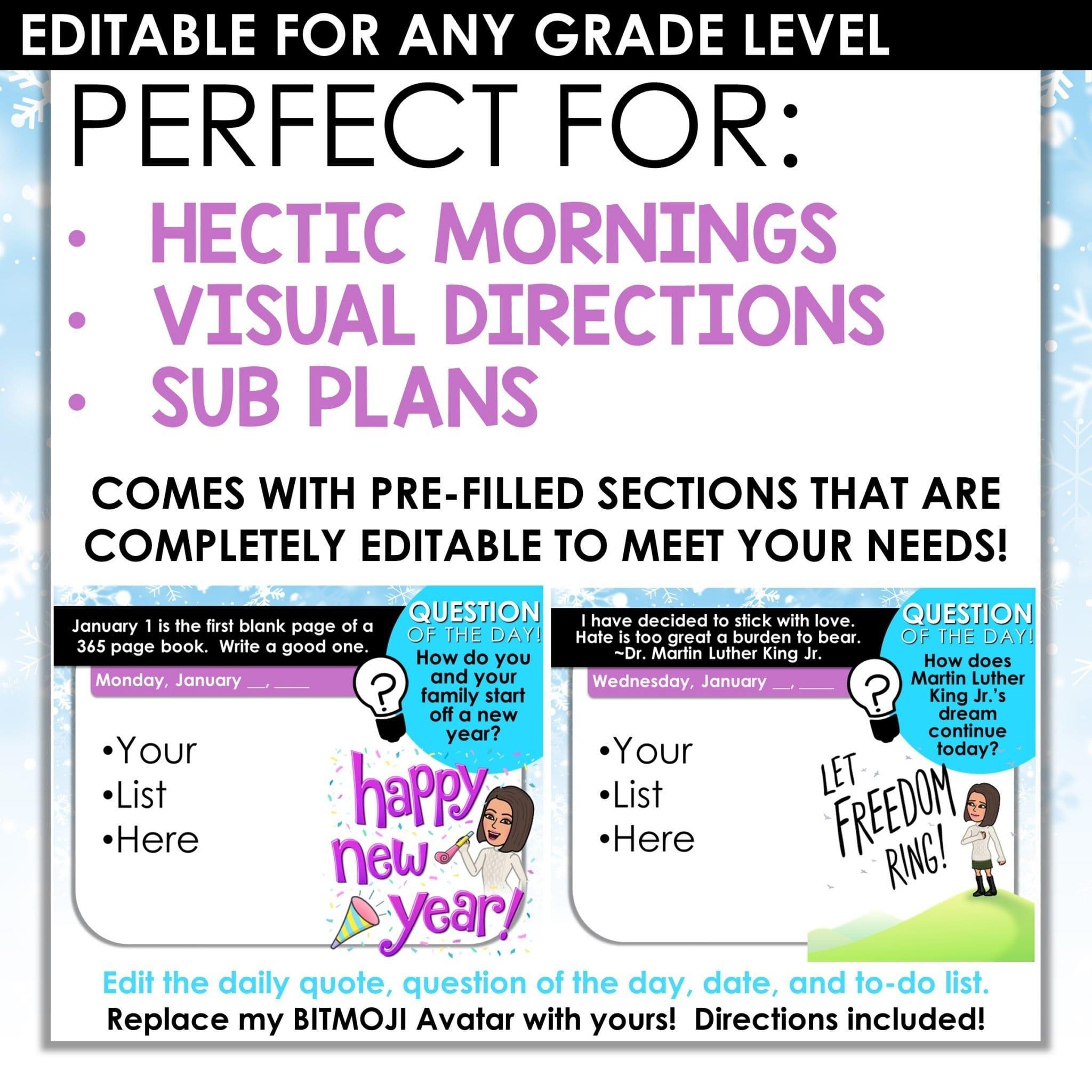 January Bitmoji Morning Slides Morning Messages