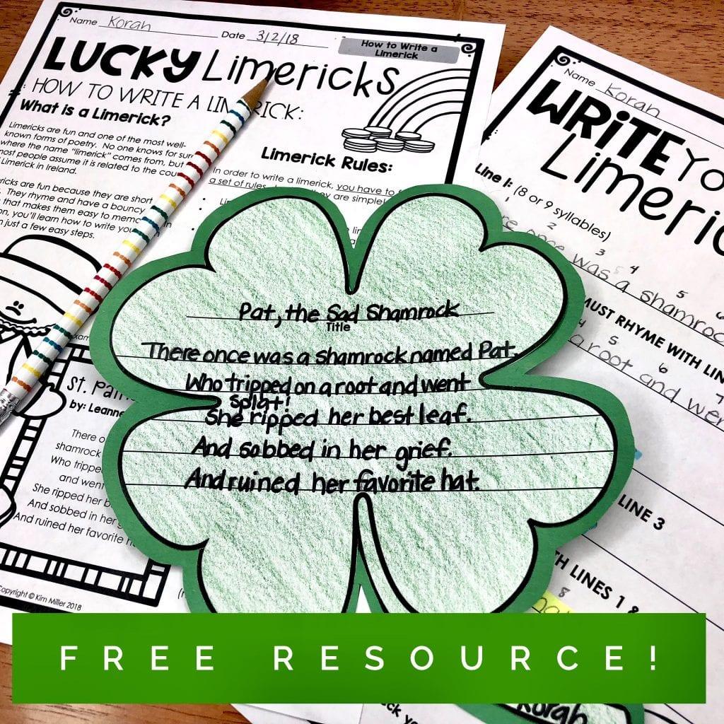 free limerick writing activity